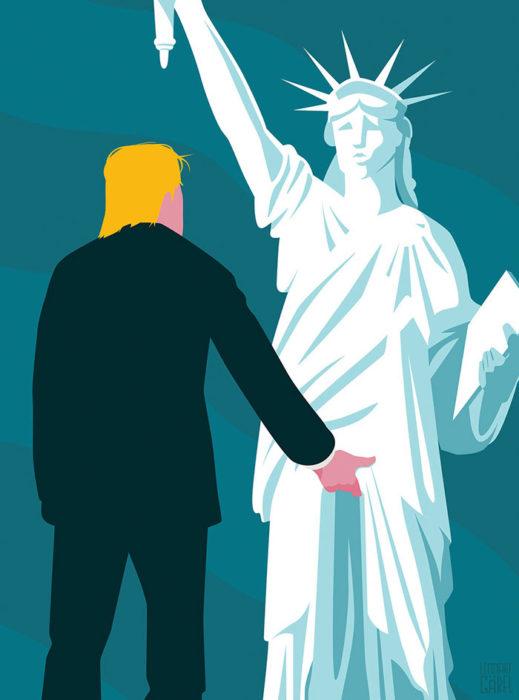 trump grotesco y la estatua de la libertad
