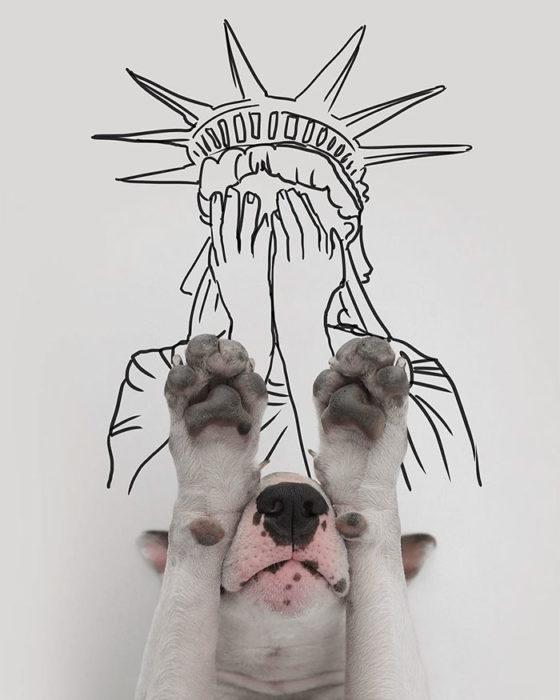 Estatua de la libertad avergonzada