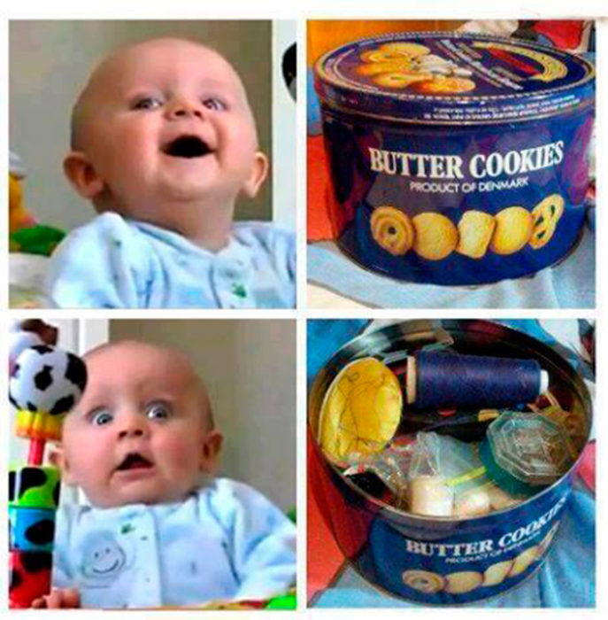 caja de galletas con hilos