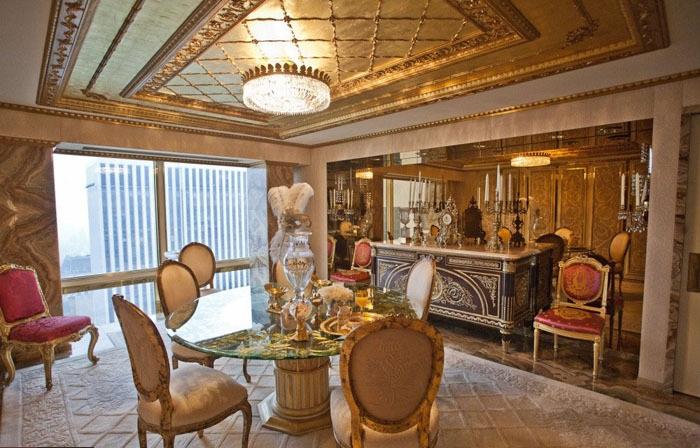 Comedor lujoso de la casa de Donald Trump