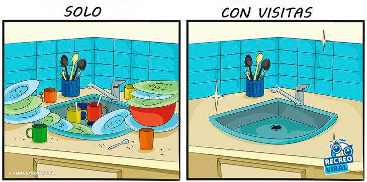 Lavamos los trastes cuando tenemos invitados