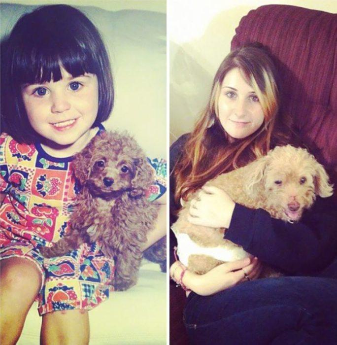 El antes y después de una niña y su mascota fiel