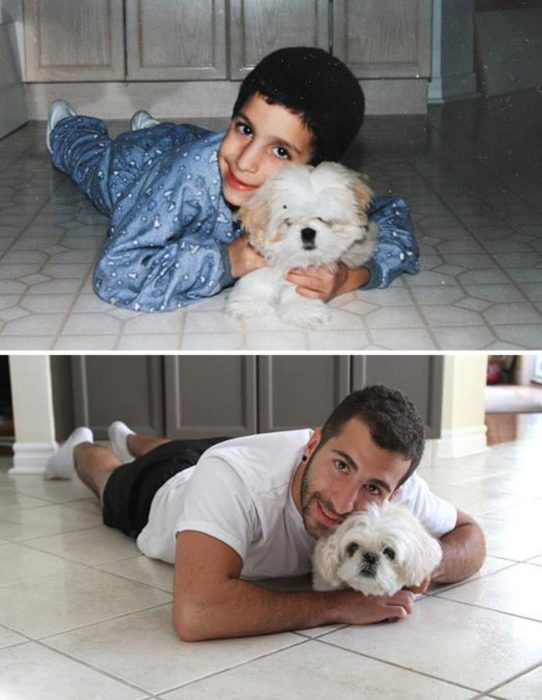 Este joven posando junto a su perro años después
