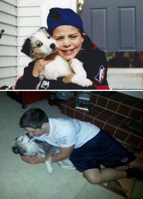 El antes y después de este niño y su perro