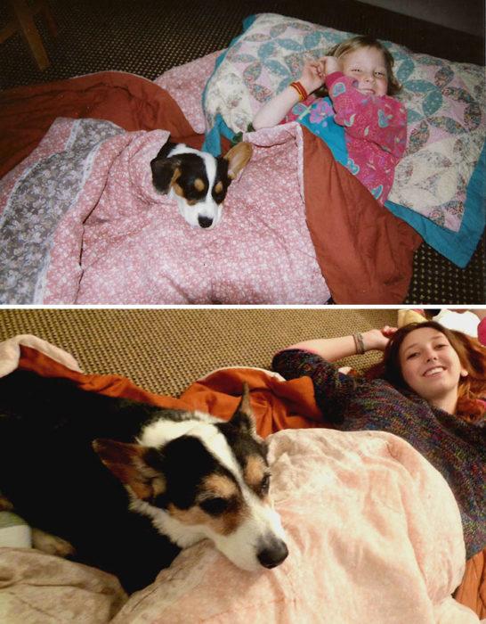 Miña junto a su mascota, antes y después.