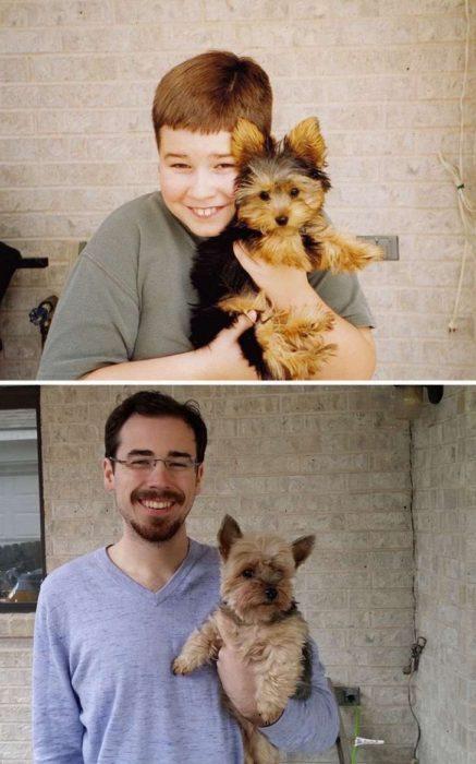 El perrito siempre estaba asustado en las fotos