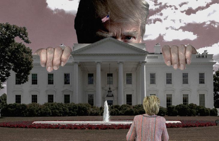 Casa Blanca Photoshop - Trump gigante viendo a Hillary chiquita