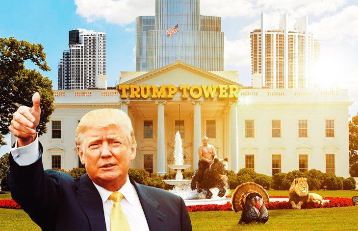 Casa Blanca Photoshop - Putin en el patio y edificios atras y con el letrero de Tump Tower
