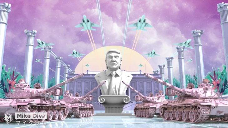 Casa Blanca Photoshop - Busto de Donald y tanques de guerra
