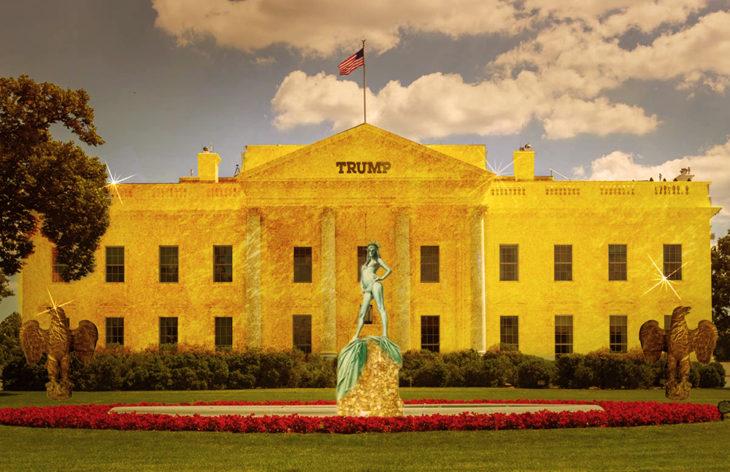 Casa Blanca Photoshop - La casa de oro y una fuente en medio de Melania desnuda