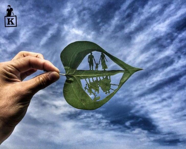 Desenho de uma folha dupla vista