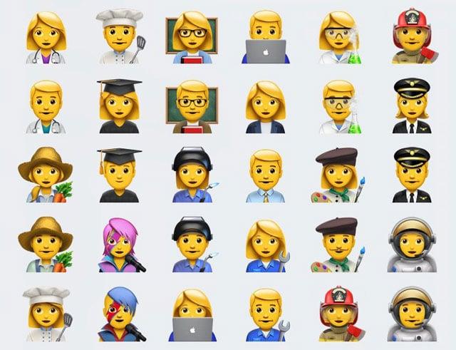 Emoji profesiones hombres y mujeres
