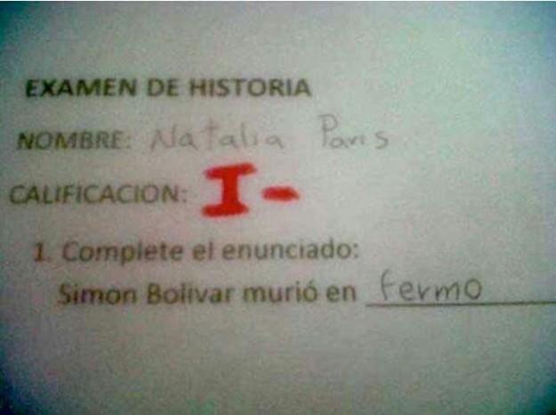 Respuestas exámenes - Simón Bolívar murió en-fermo
