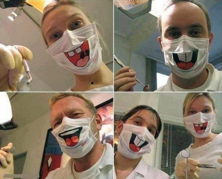 Dentistas con cubre-bocas extraños