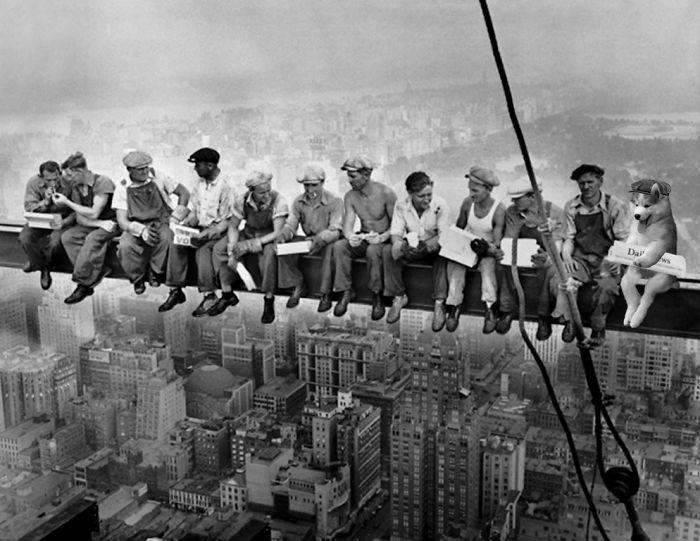 Batalla Photoshop - Husky foto construcción edificio Rockefeller