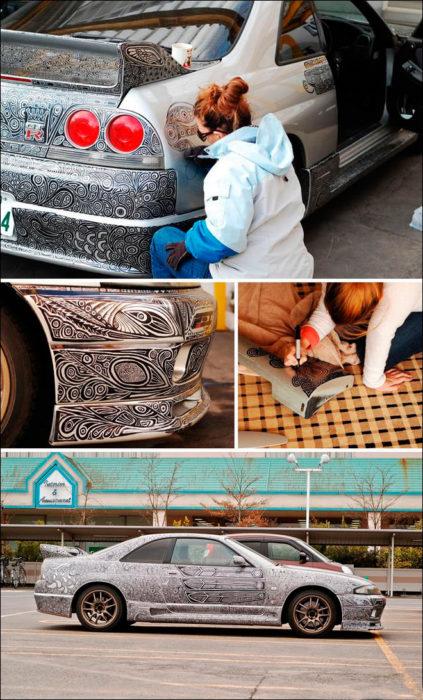arte en un carro