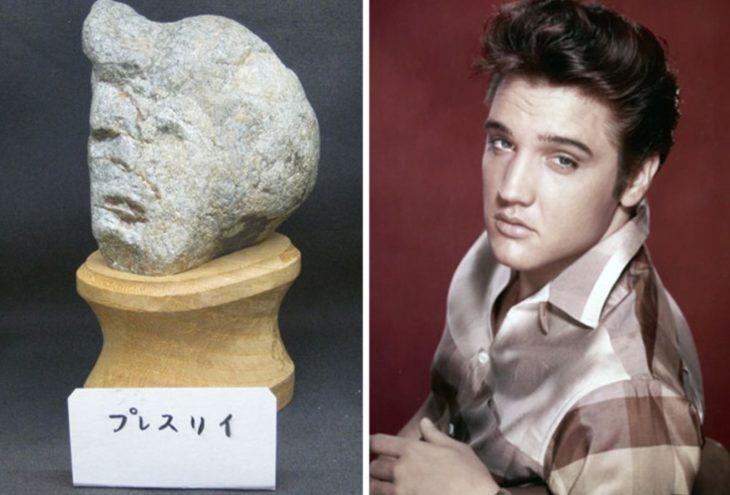 Piedra con el rostro de Elvis Presley
