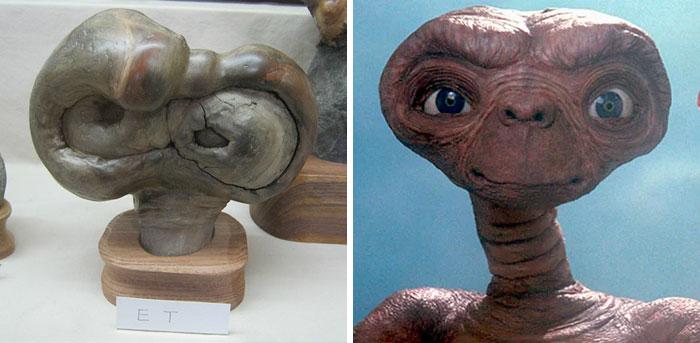 Piedra con el rostro de E.T.