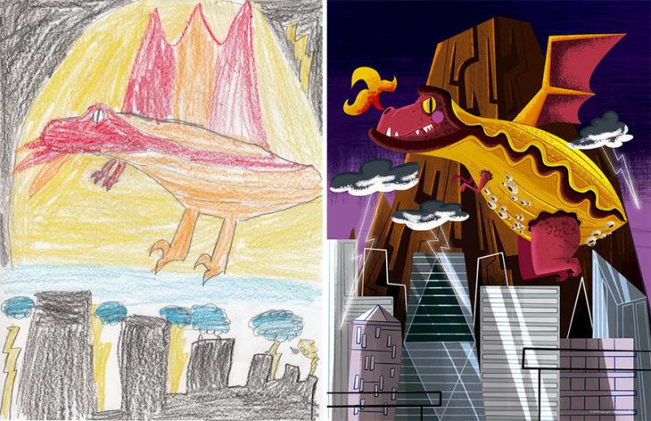 Proyecto Monstruos - dragon encima de una ciudad