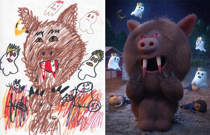 Proyecto Monstruos - un cerdo peludo con colmillos