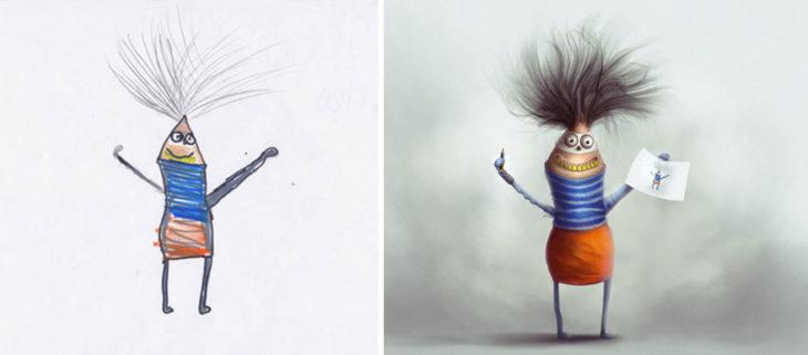 Proyecto Monstruos - monstruo que parece lapiz pero con cabello