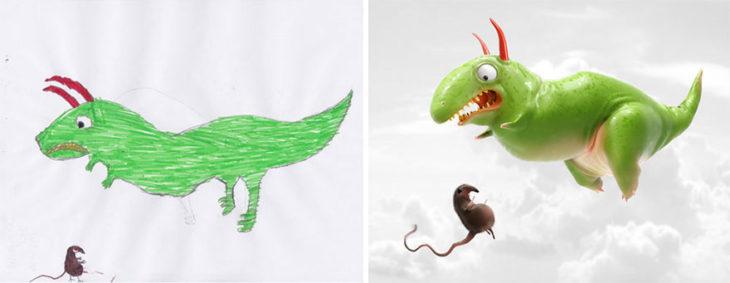 Proyecto Monstruos - dinosaurio asustado de un animal extraño