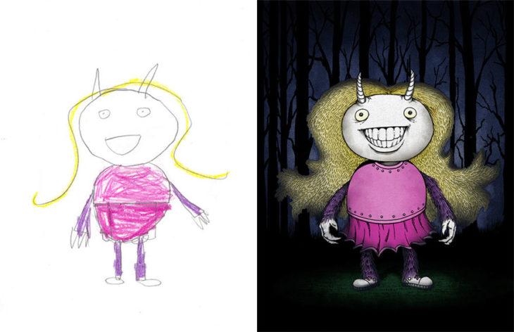 Proyecto Monstruos - niña sonriendo con cuernos