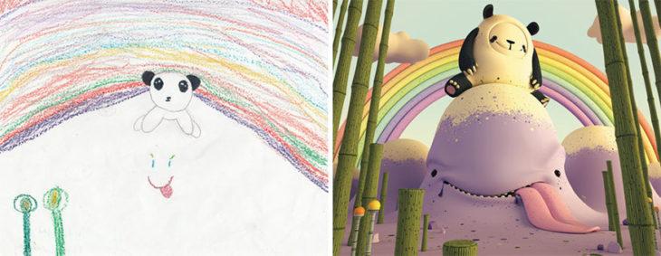 Proyecto Monstruos - un oso extraño y un arcoiris atras