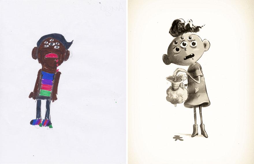 artistas recrean dibujos de monstruos hechos por niños