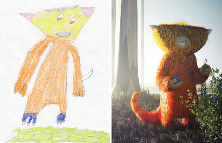 Proyecto Monstruos - monstruo cabeza extraña naranja