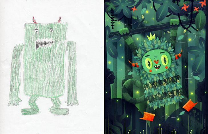 Proyecto Monstruos - monstruo verde trepador