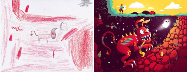 Proyecto Monstruos - perro dragon persiguiendo un fantasma
