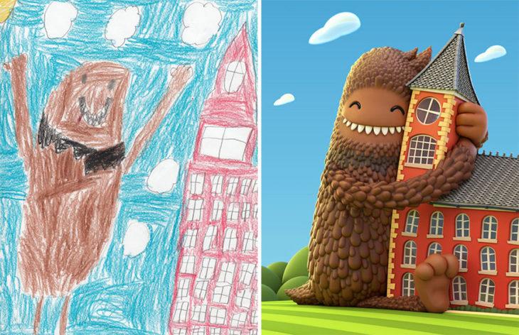 Proyecto Monstruos - monstruo abrazando un edificio