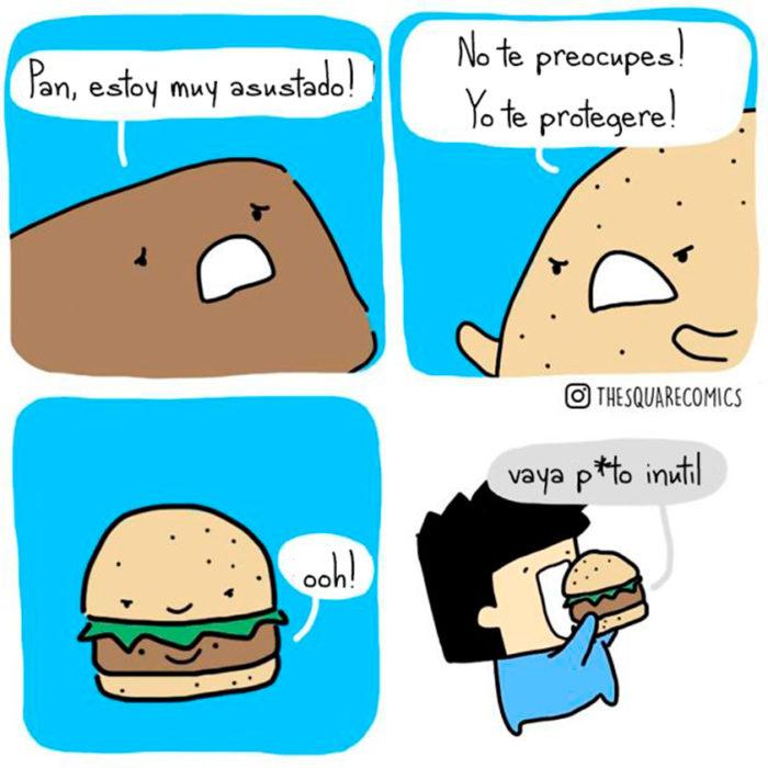 Un hombre comiéndose una hamburguesa