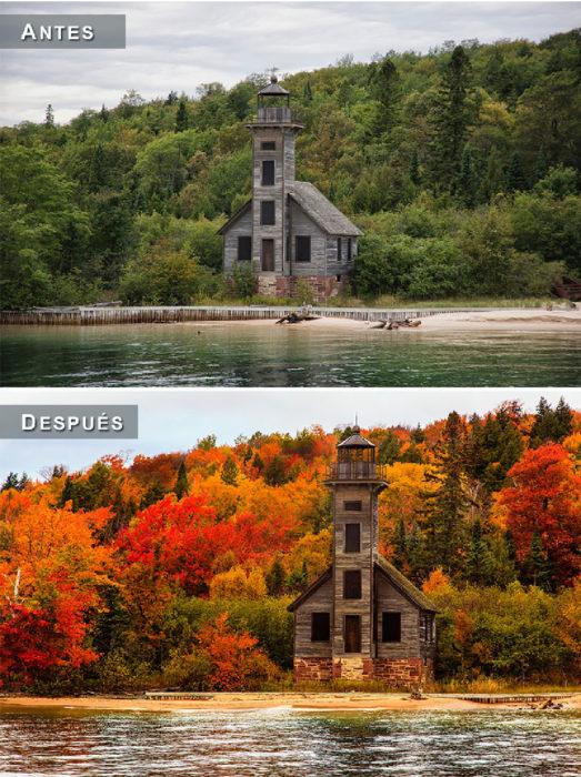 Otoño - casa a orillas del lago antes y después