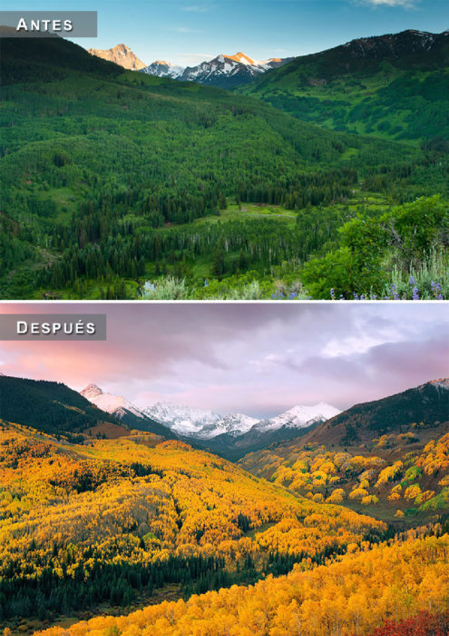 Otoño - paisaje antes y despues