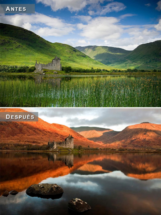 Otoño - paisaje en lago antes y después