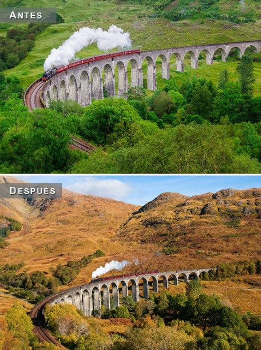 Otoño - Escocia antes y después