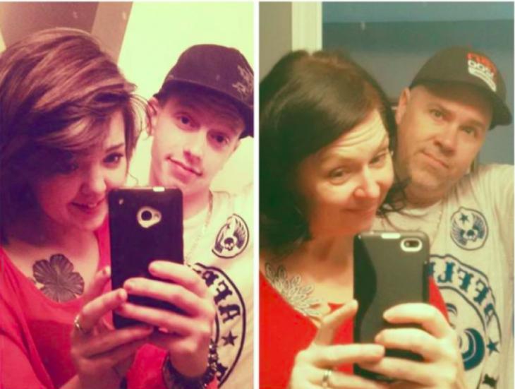papás imitan fotos de hijos