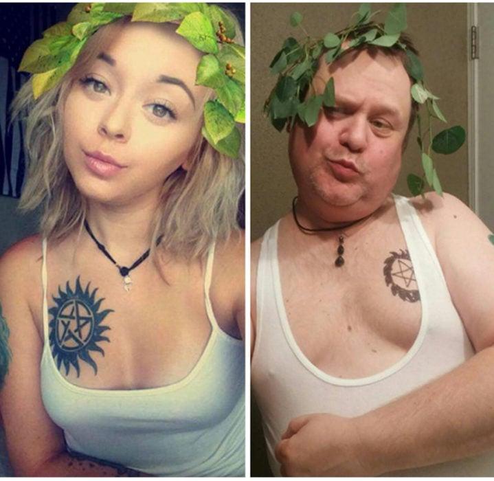 papá idéntico a su hija