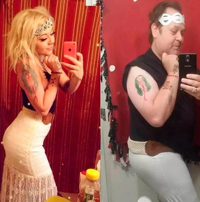 papá imita hija