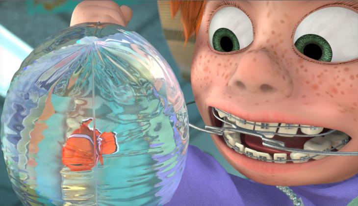 Nemo atrapado en una bolsa con la sobrina del dentista
