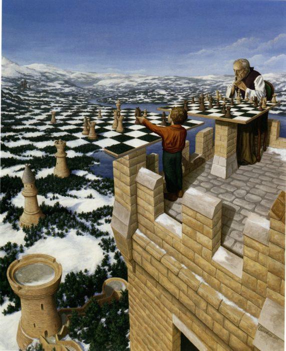 Niño y su abuelo jugando ajedrez