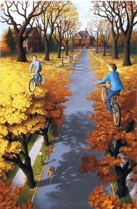 Niños jugando con bicicleta
