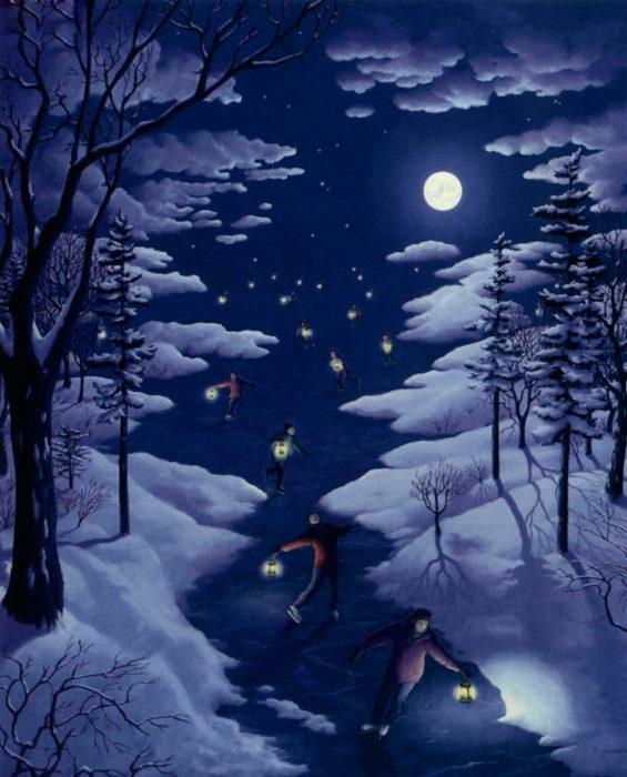 Estrellas en una noche nevada