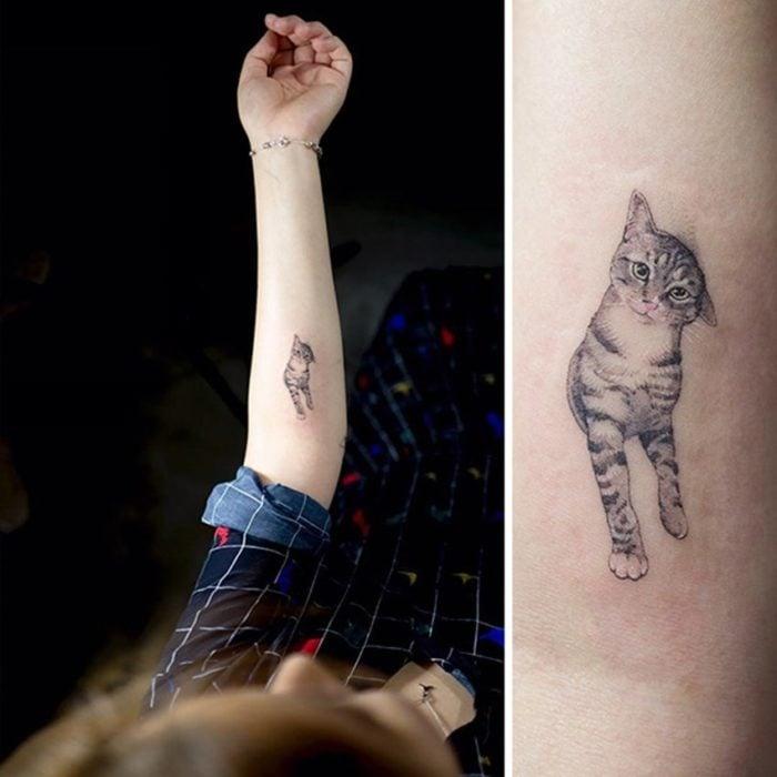 Tatuaje de gato caminando en el brazo de su dueña