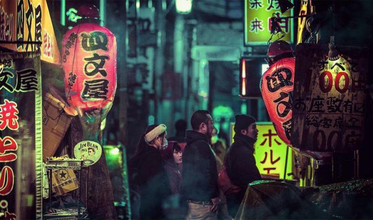 Un barrio de tokio apreciado por la noche