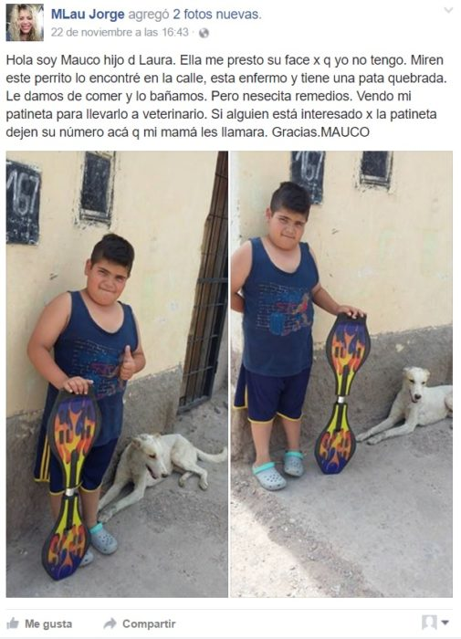 Post facebook niño vende patineta