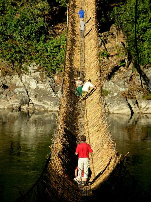 puente de bambú India