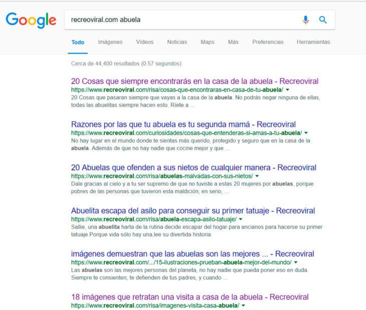 Búsqueda sobre recreoviral en Google